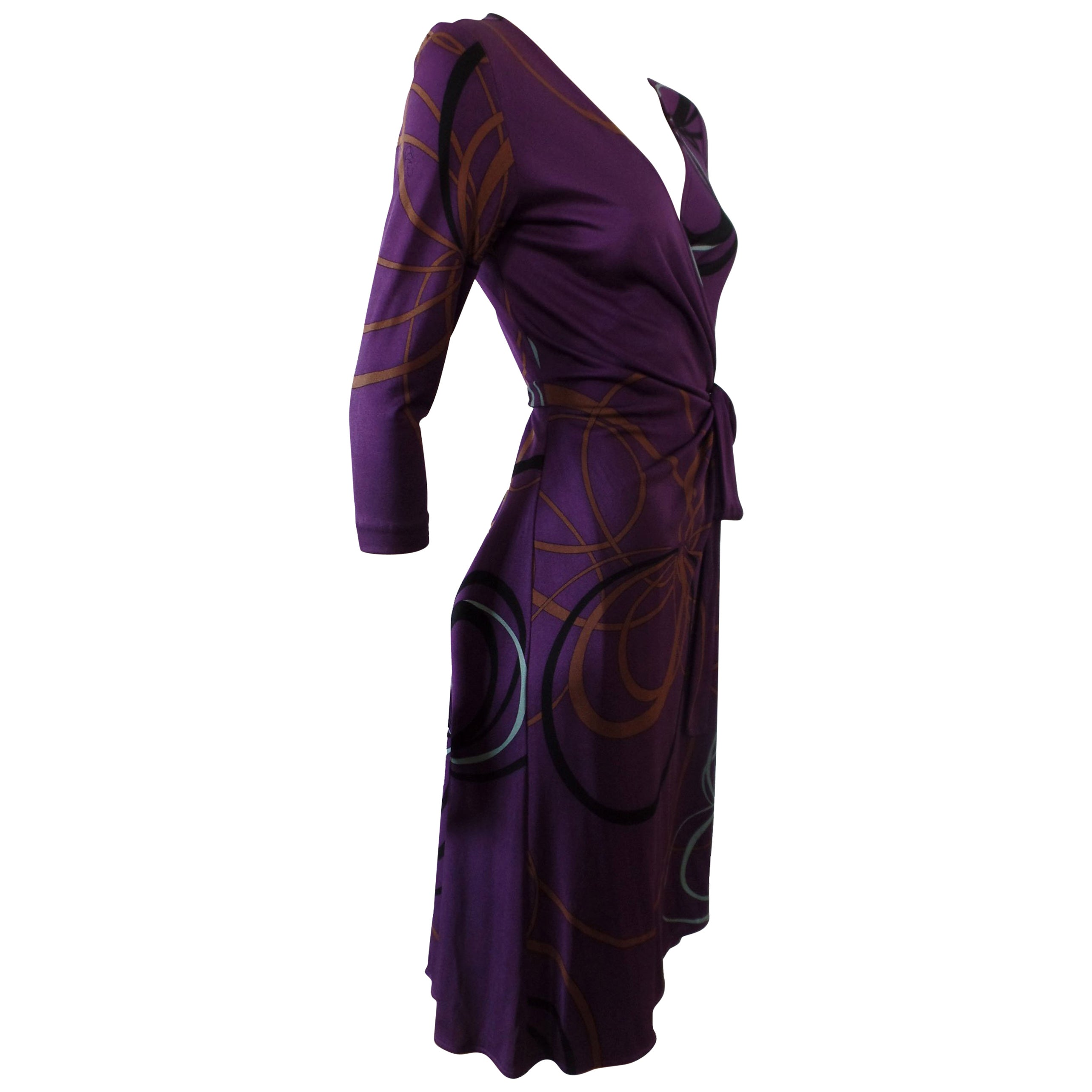 2b8b6f478f Flora Kung Purple Plum Silk Jersey Catherine Wrap Dress For Sale at 1stdibs