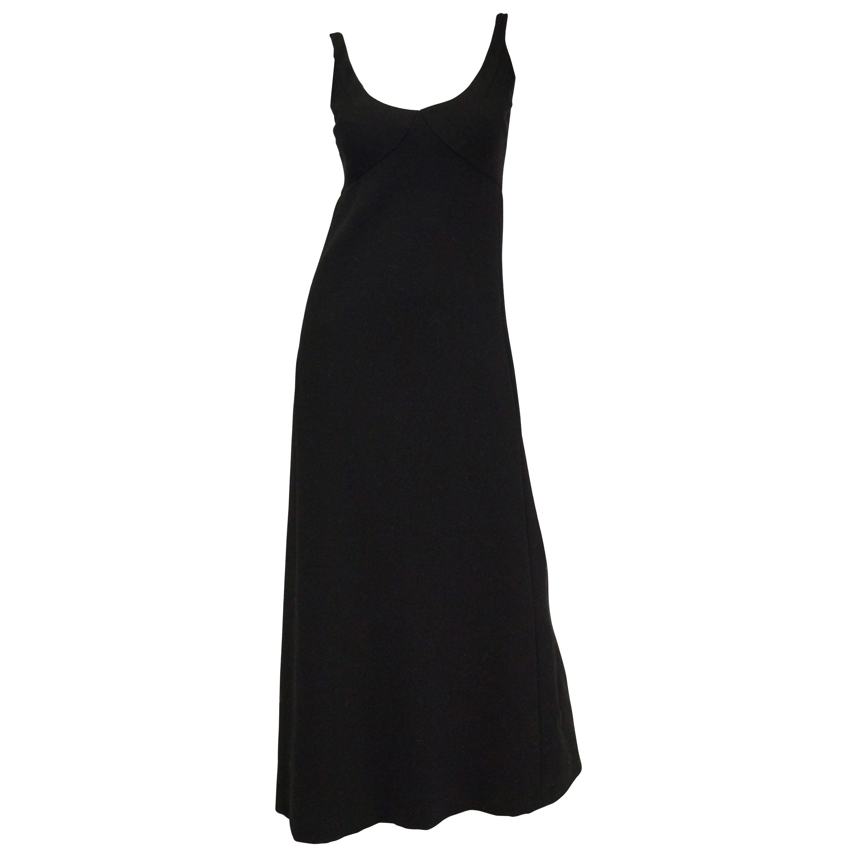1960s Donald Brooks Black Wool Evening Dress