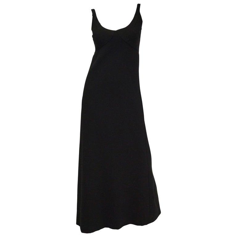 1960s Donald Brooks Black Wool Evening Dress For Sale