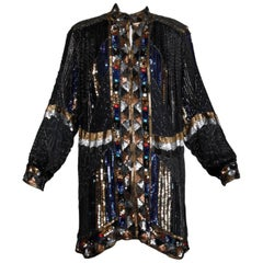 Vintage Silk Metallic Sequin Beaded + Rhinestone Embellished Jacket Coat/ Duster
