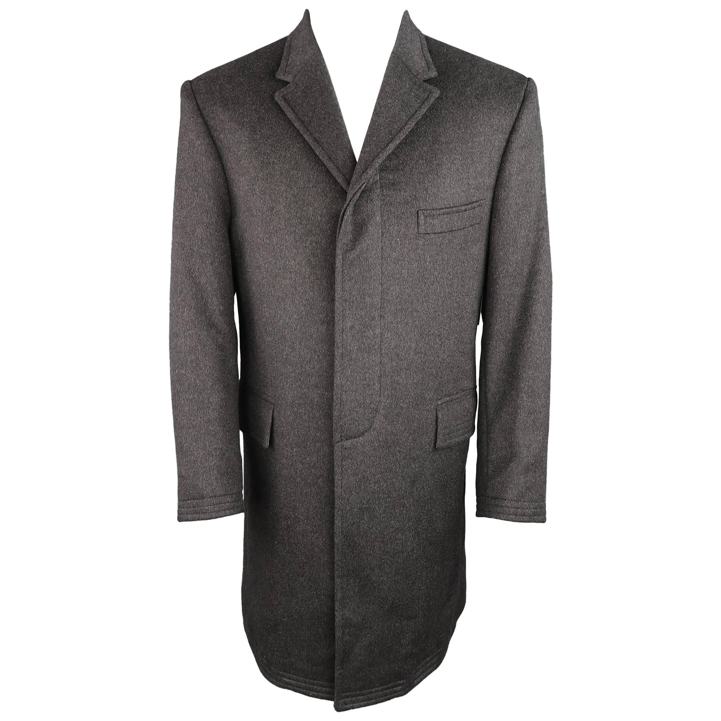 87c1e65180 THOM BROWNE Coat - 40 Charcoal Cashmere Hidden Placket Notch Lapel Jacket  at 1stdibs