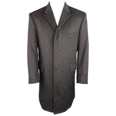 THOM BROWNE Coat - 40 Charcoal Cashmere Hidden Placket Notch Lapel Jacket