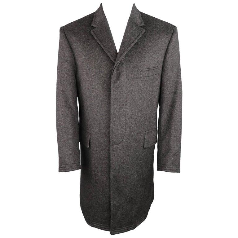 THOM BROWNE 40 Charcoal Brushed Cashmere Hidden Placket Notch Lapel Coat