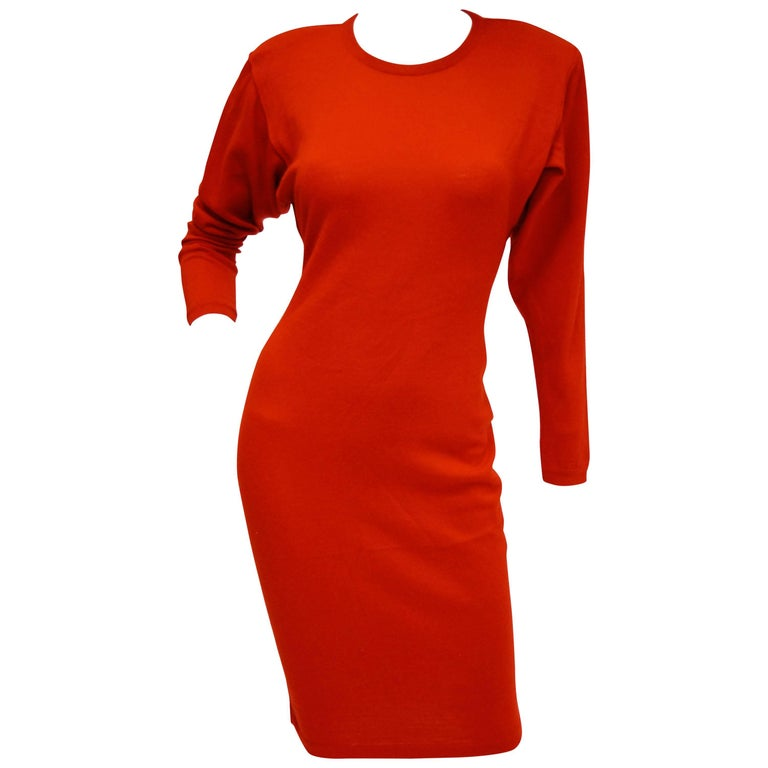 1990s Azzedine Alaia Valentine Red Virgin Wool Knit Dress
