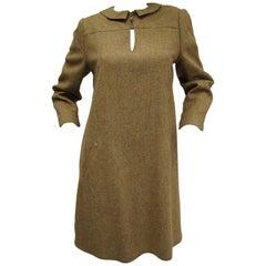 1980s Geoffrey Beene Herringbone Wool Keyhole Shift Dress