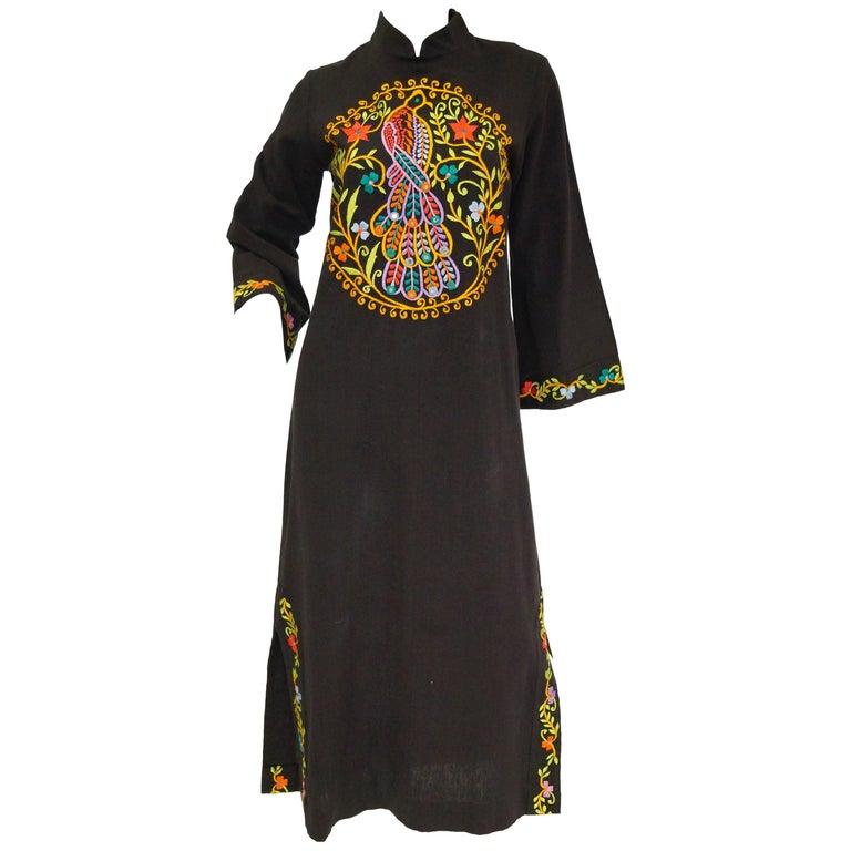 1960s Ramona Rull Peacock Embroidered Caftan