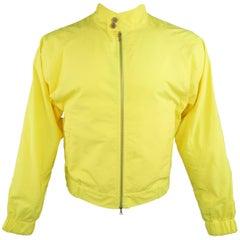 Men's DRIES VAN NOTEN Yellow Canvas High Collar Raglan Sleeve Windbreaker Jacket