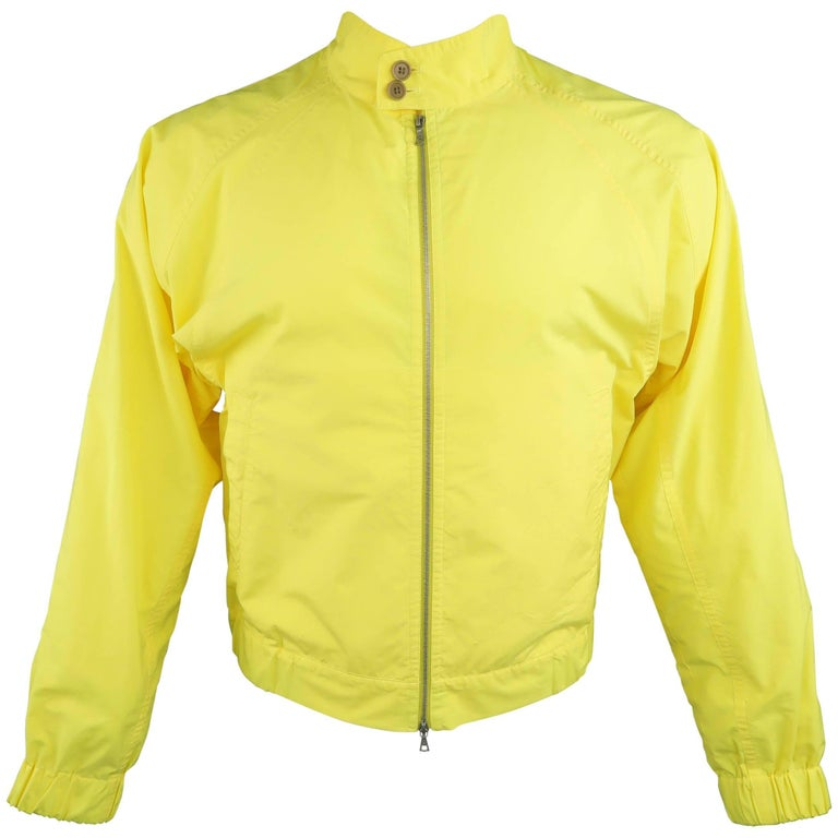 Men's DRIES VAN NOTEN Yellow Canvas High Collar Raglan Sleeve Windbreaker Jacket
