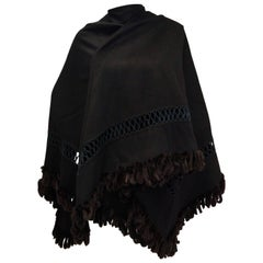 Fabulous Adrienne Landau Black Wool and Fox Fur Shawl