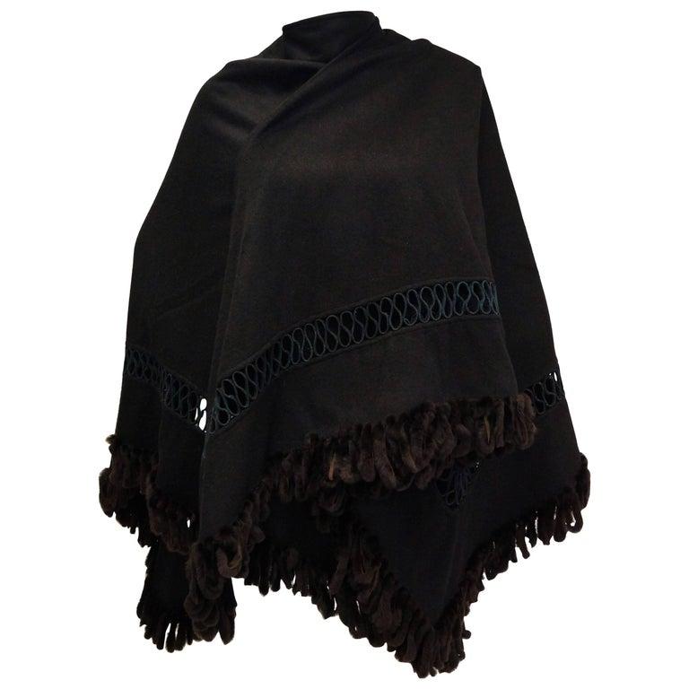 Fabulous Adrienne Landau Black Wool and Fox Fur Shawl