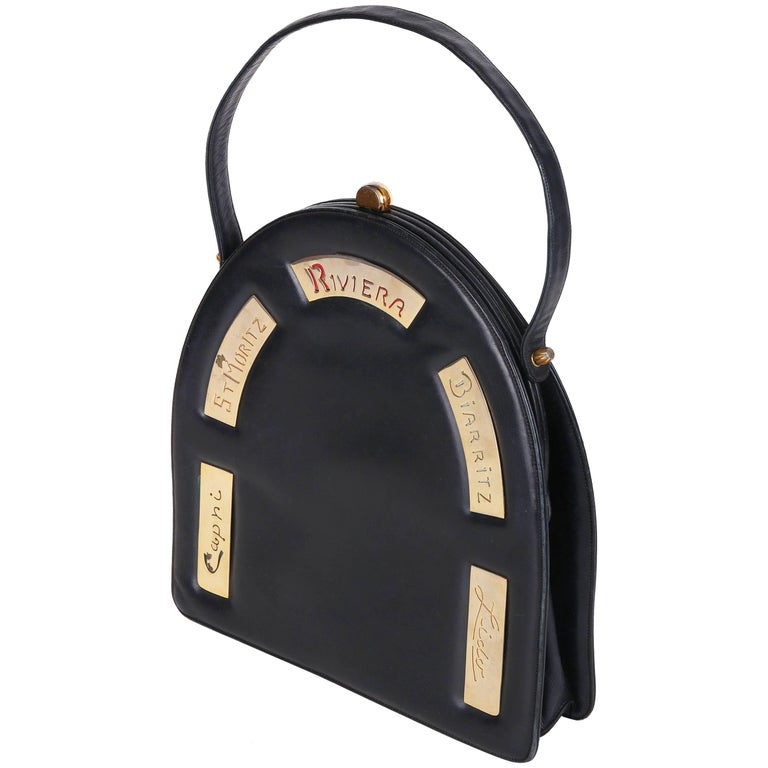 Prestige Black Leather Destination Arched Handbag with City Names, 1960s