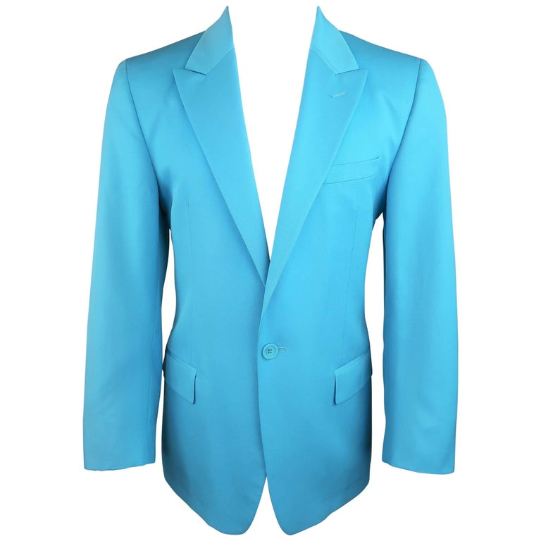 Men's GIANNI VERSACE 1990s 40 Regular Electric Blue Wool Peak Lapel Sport Coat