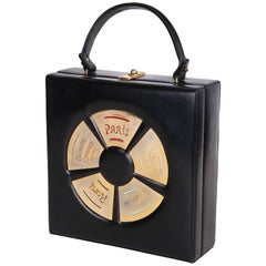 Prestige Black Leather Destination Box Handbag With City Names, 1960s