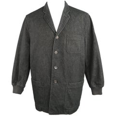 Comme des Garcons Men's Black Raw Denim Notch Lapel Baseball Sleeve Jacket