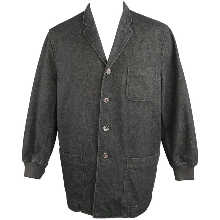 Men's COMME des GARCONS M Black Raw Denim Notch Lapel Baseball Sleeve Jacket