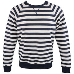 SAINT LAURENT Size L Navy & Creme Stripe Cotton French Terrycloth Sweatshirt