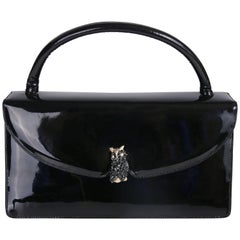 Judith Leiber Vintage Black Patent Leather Clutch Handbag With Owl Clasp
