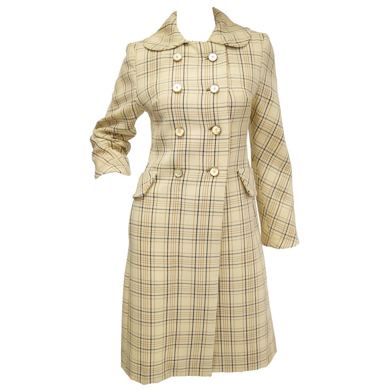 1960s Bill Blass Cream Wool Plaid Coat with Mother of Pearl Buttons