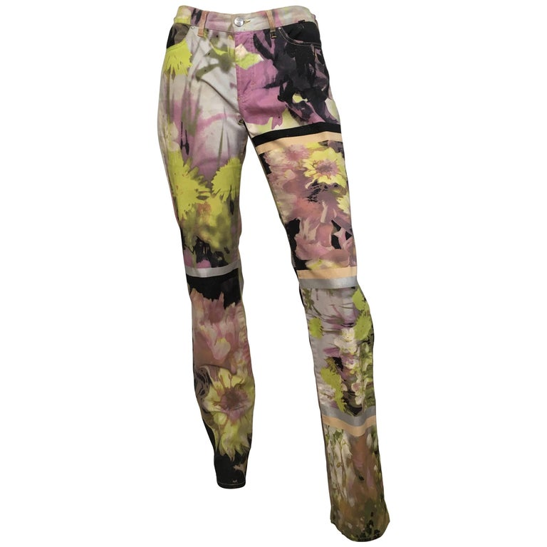 Just Cavalli Glitter Cotton Floral Pants Size 4