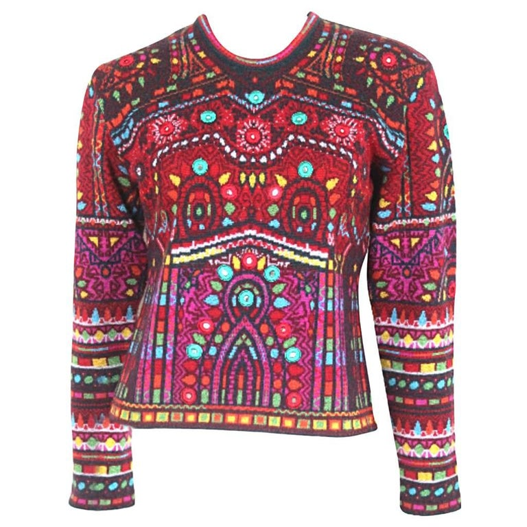 kenzo shisha mirror embroidered sweater for sale at 1stdibs. Black Bedroom Furniture Sets. Home Design Ideas