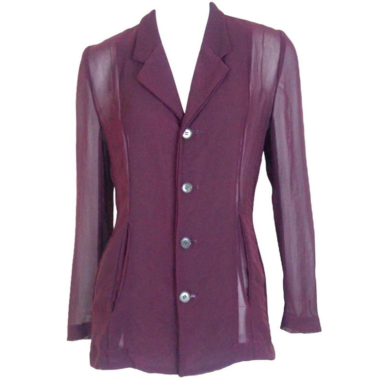 Comme des Garcons 1992 Collection Semi Transparent Front and Back Pocket Jacket