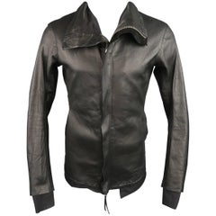 Boris Bidjan Saberi Black Leather High Collar Jacket