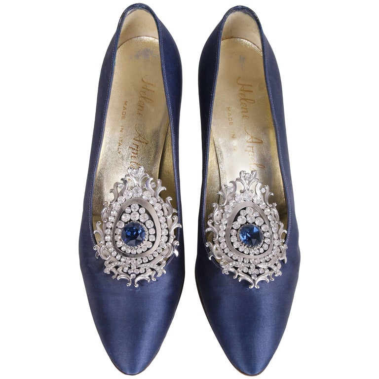 Helene Arpels Custom Blue Silk Pumps with Jeweled Adornment at Toe