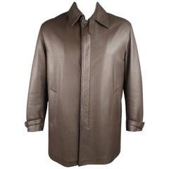 Men's PAUL STUART 42 Brown Leather Hidden Placket Belted Collar Car Coat