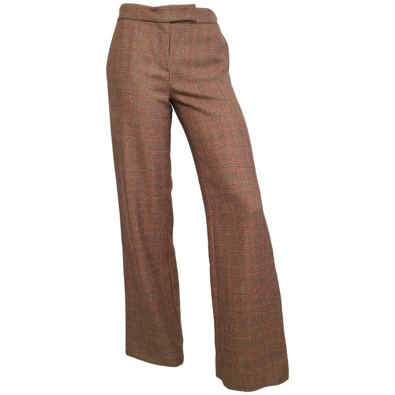 Blumarine Glen Plaid Wool Pants with Pockets, Size 4