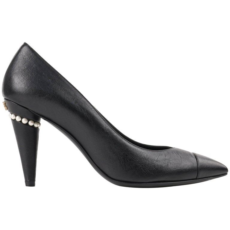 CHANEL Cruise 2015 Black Leather Pearl Embellished Pointed Toe Pumps Heels