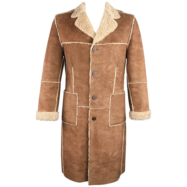 PRIMO EMPORIO 40 Tan Textured Faux Shearling Notch Lapel Coat