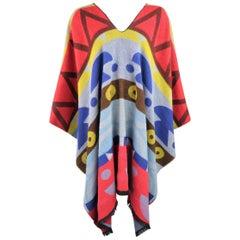 WALTER VAN BEIRENDONCK Multi-Color WOEST Print Wool Knit Blanket Poncho