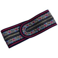 Vintage Ungaro Parallele Wide Peasant Belt Floral Motif Embroidery Size S