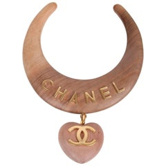 Chanel Wooden Choker Necklace W/CC Logo Heart Pendant Ca. 1989