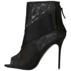 Giuseppe Zanotti New Black See Through Cut Out Ankle Boots Booties in Box