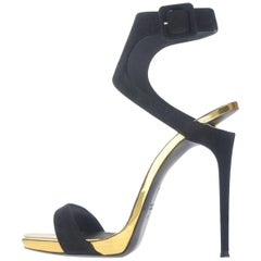 Giuseppe Zanotti New Black Suede Gold Evening Sandals Heels in Box