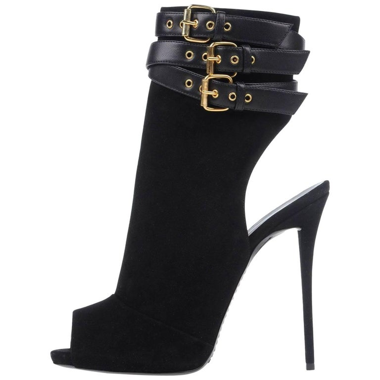 Giuseppe Zanotti New Black Suede Leather Buckle Ankle Boots Booties in Box