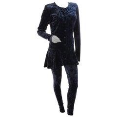 Betsey Johnson Punk Label Velvet Skater Dress & Leggings Set 2pc Sz S/L 1980s