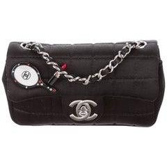 Chanel New Black Satin Racket Lipstick Small Evening Shoulder Flap Bag