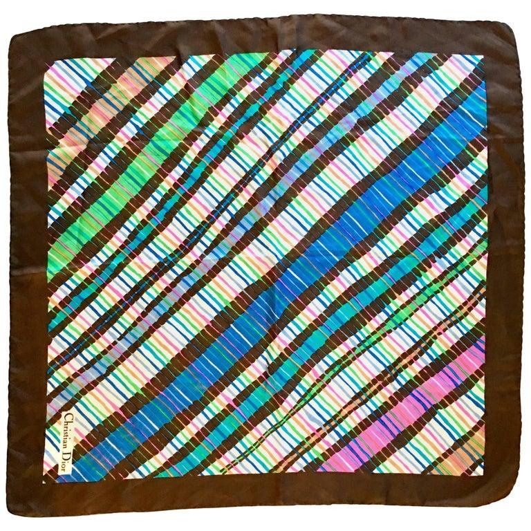 1970'S Christian Dior Geometric Stripe Silk Scarf