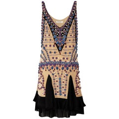 New Etro Runway Fully Hand-Embellished Silk Nude Dress It. 38