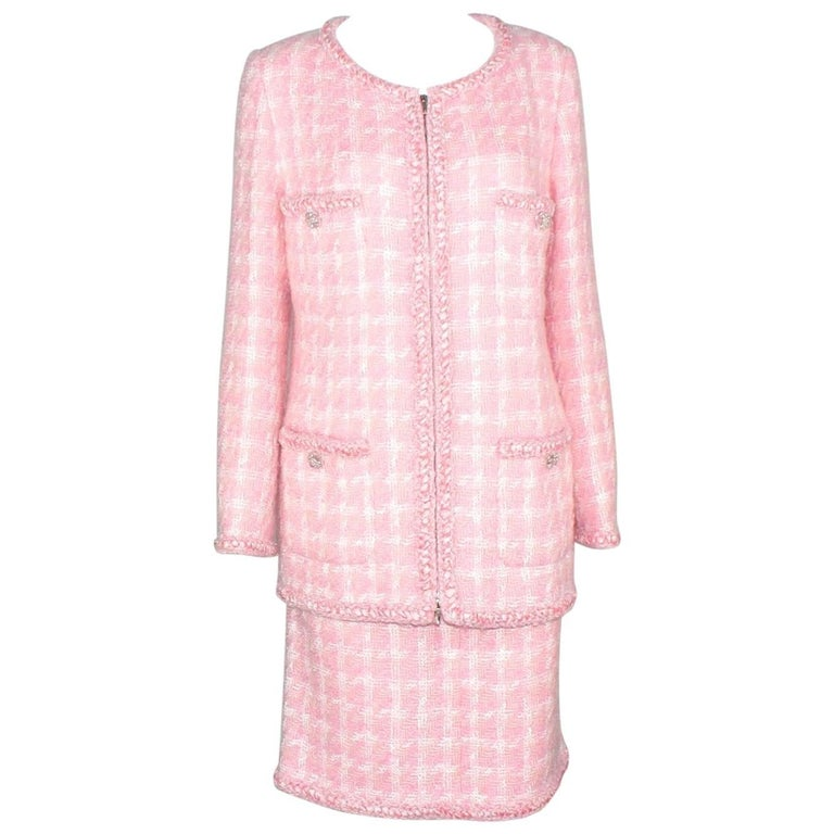 Rare Chanel Pink Tweed Skirt Suit Supermarket Collection