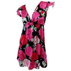 Flora Kung Silk Satin Mock Wrap Rose Print Doll Dress