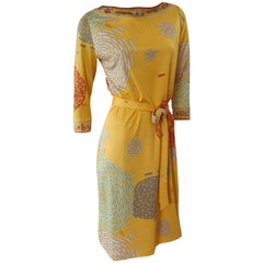 Flora Kung Silk Jersey Mimosa Yellow Silk Jersey Mix Print Dress