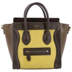 Celine Tricolor Luggage Handbag Nubuck Nano