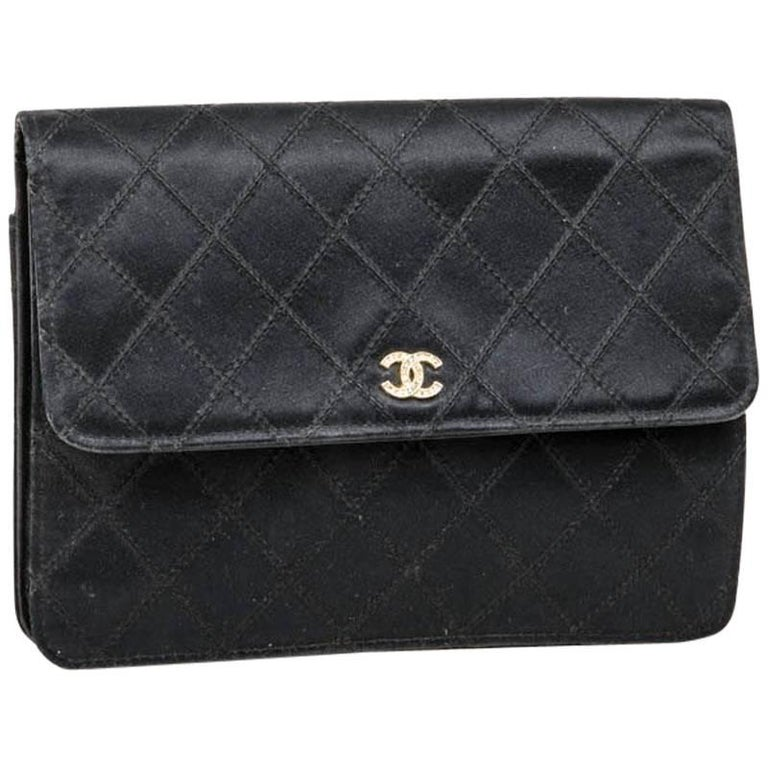 CHANEL Black Clutch in Satin Duchesse and Leather