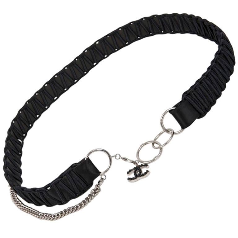 CHANEL Belt in Black Satin, Leather and Silver Chain