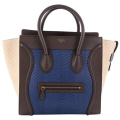 Celine Tricolor Luggage Handbag Python and Leather Mini