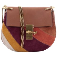 Chloe Drew Crossbody Bag Leather and Patchwork Suede Small