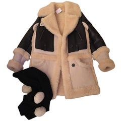 Coach Shearling and Leather Coat with Matching Scarf